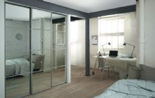 4 silver frame mirror (4 panel) sliding wardrobe doors and track to fit an opening width of 2387mm